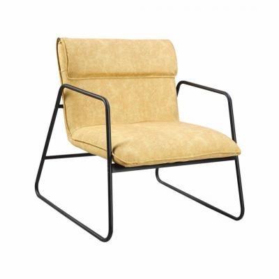 Fém vázas műbőr fotel, halvány sárga - TEXAS
